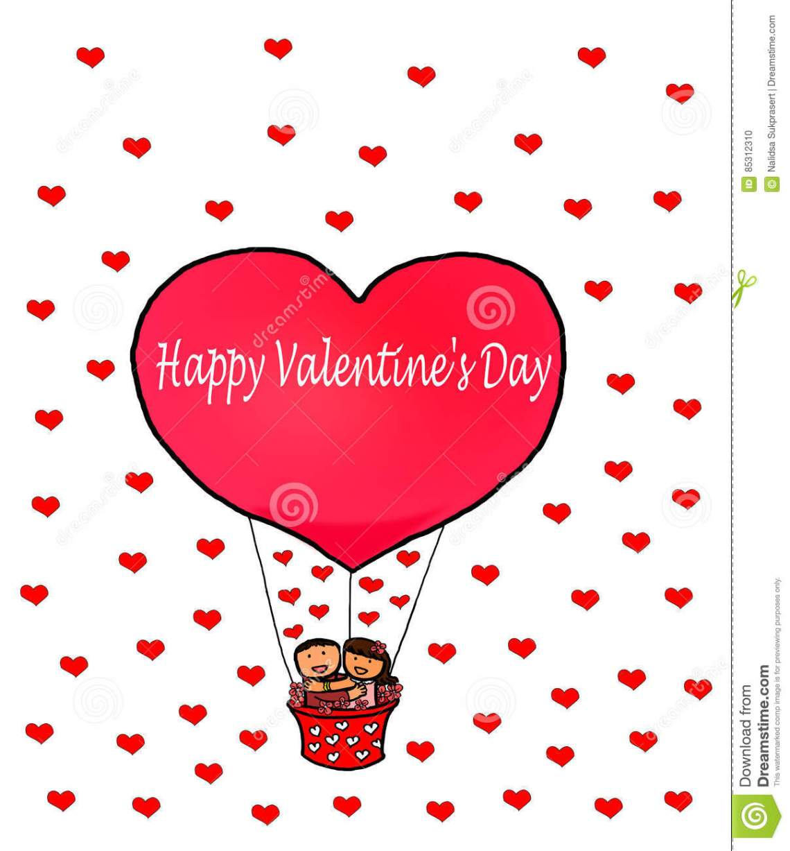 Download Love Couple Happy Valentine`s Red Heart Balloon Stock ...