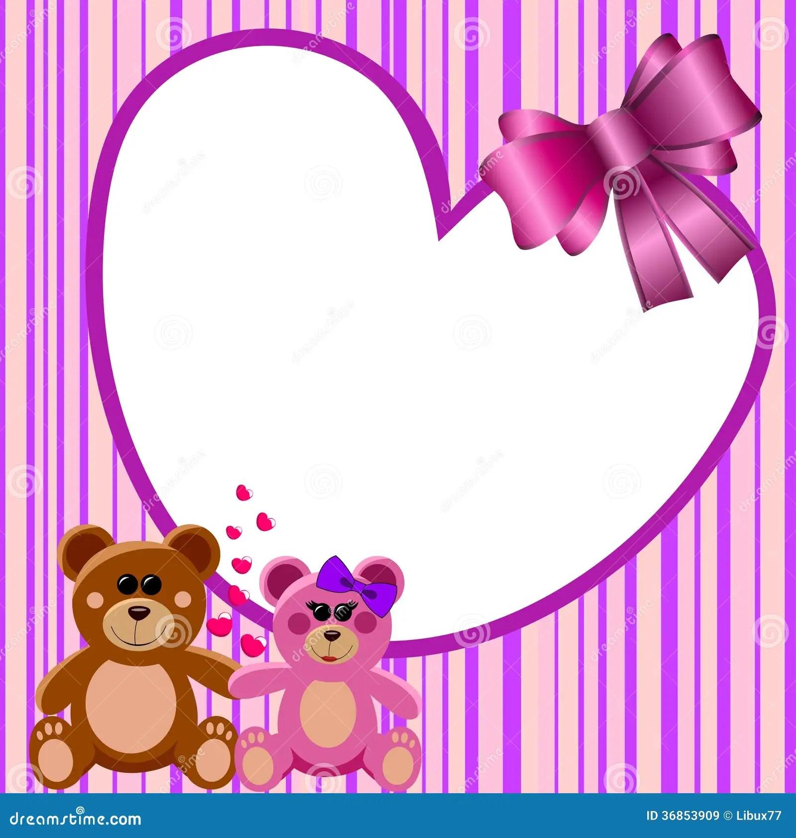 Love Heart Frame Teddy Bears Stock Vector Image 36853909