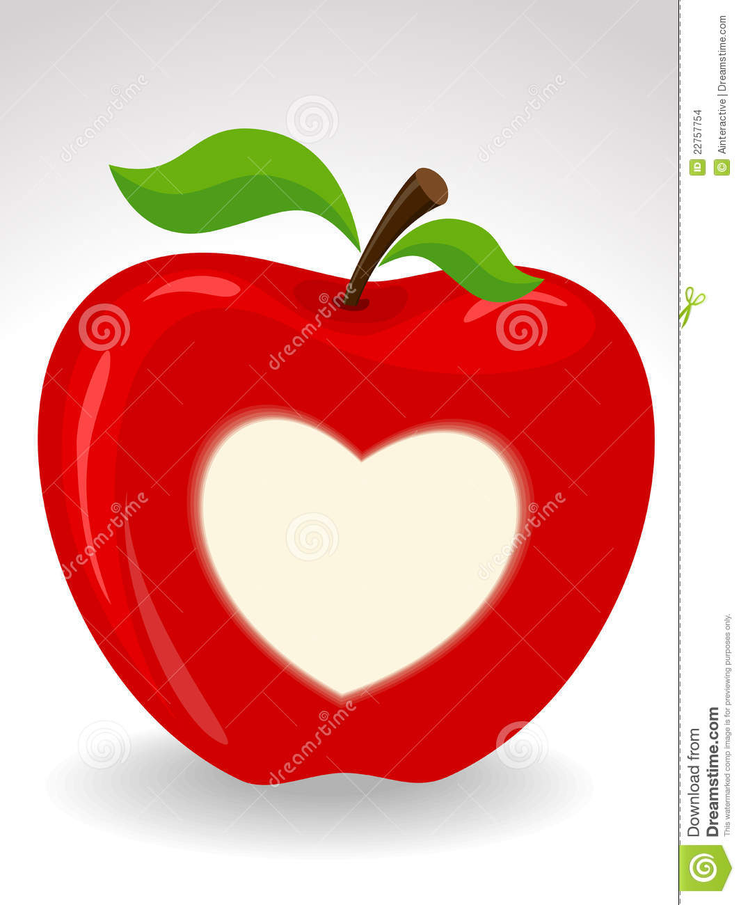 Download Love heart on red apple stock vector. Illustration of ...