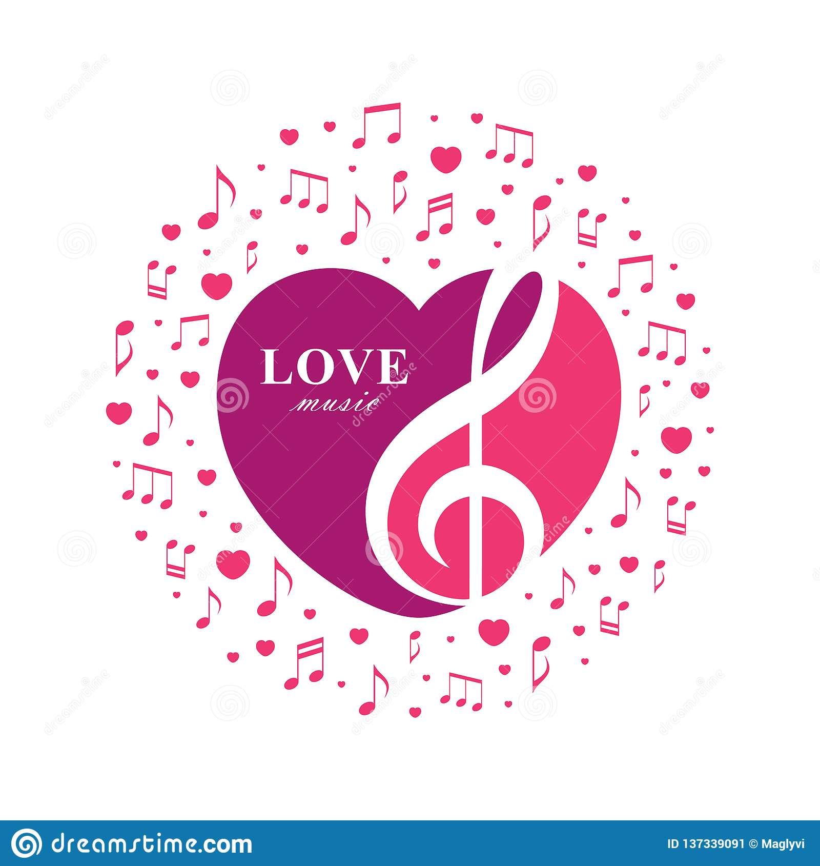 Love Music Illustration With Treble Clef Inside The Heart