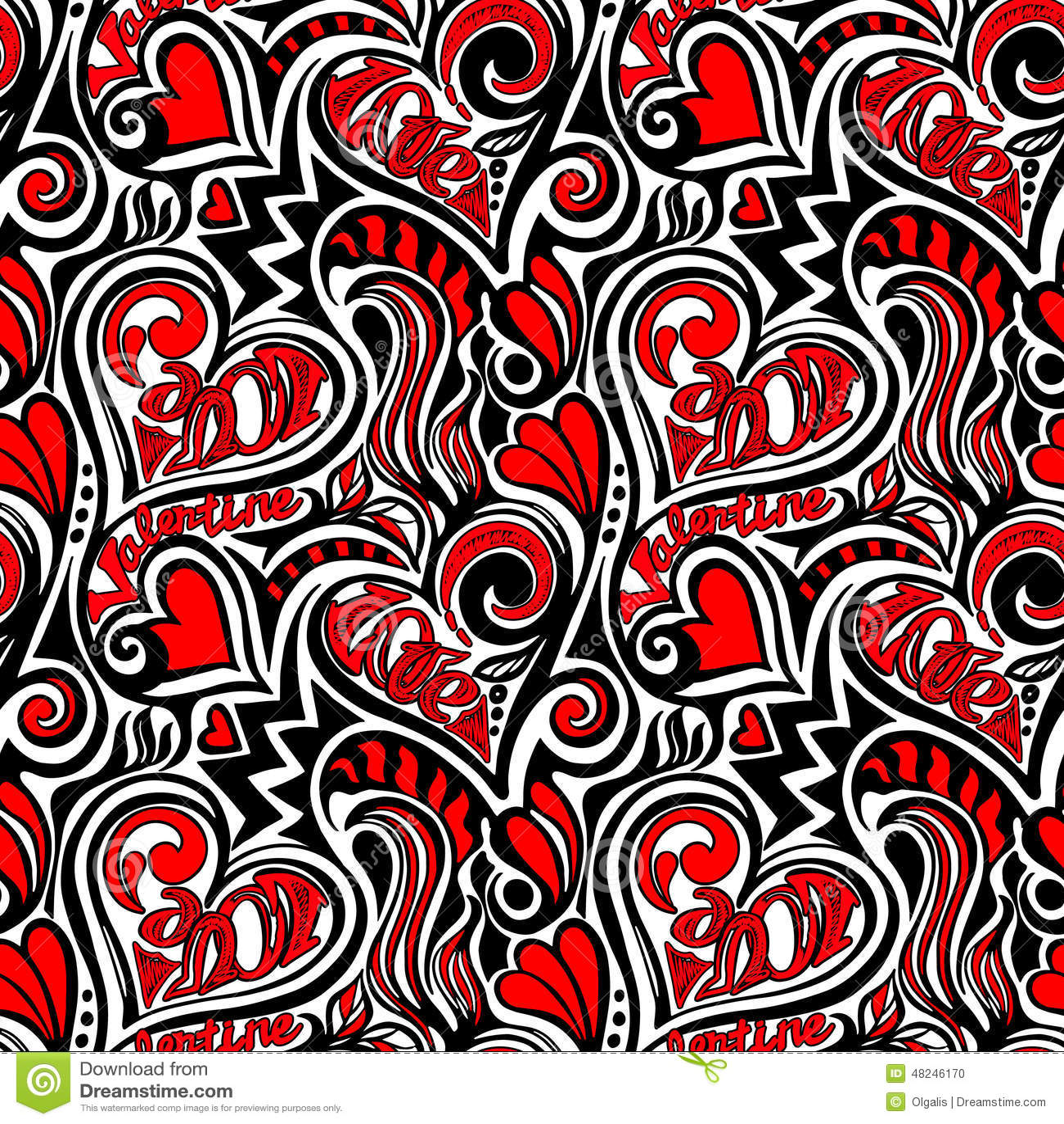 Love Valentine Seamless Pattern Stock Vector