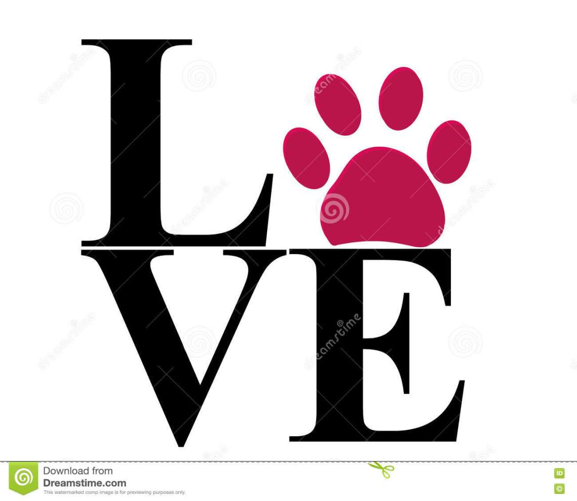 Download Love Vector With Paw Print Vector Illustration Stock ...
