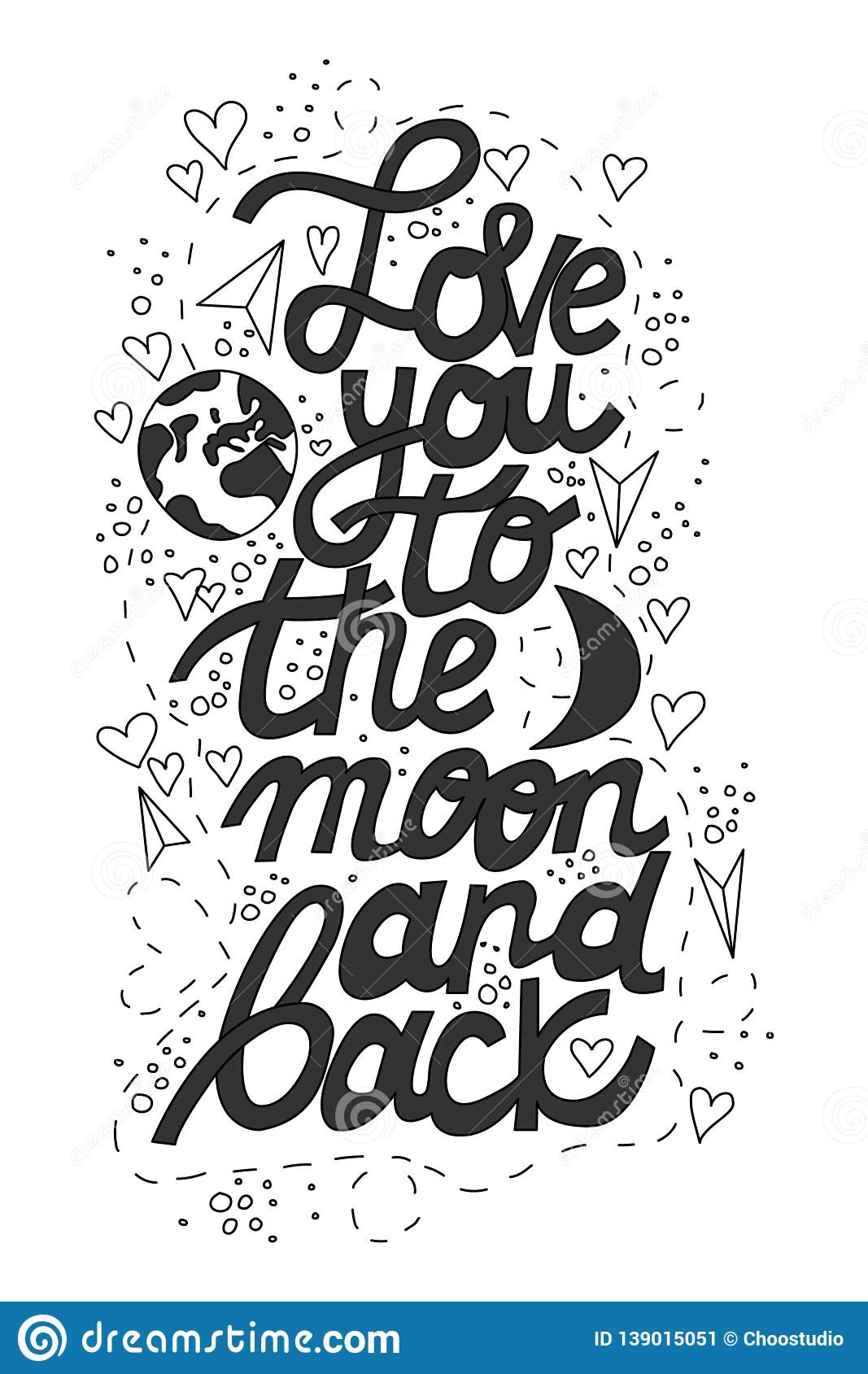 Download Love You To The Moon And Back Lettering Stock Vector ...