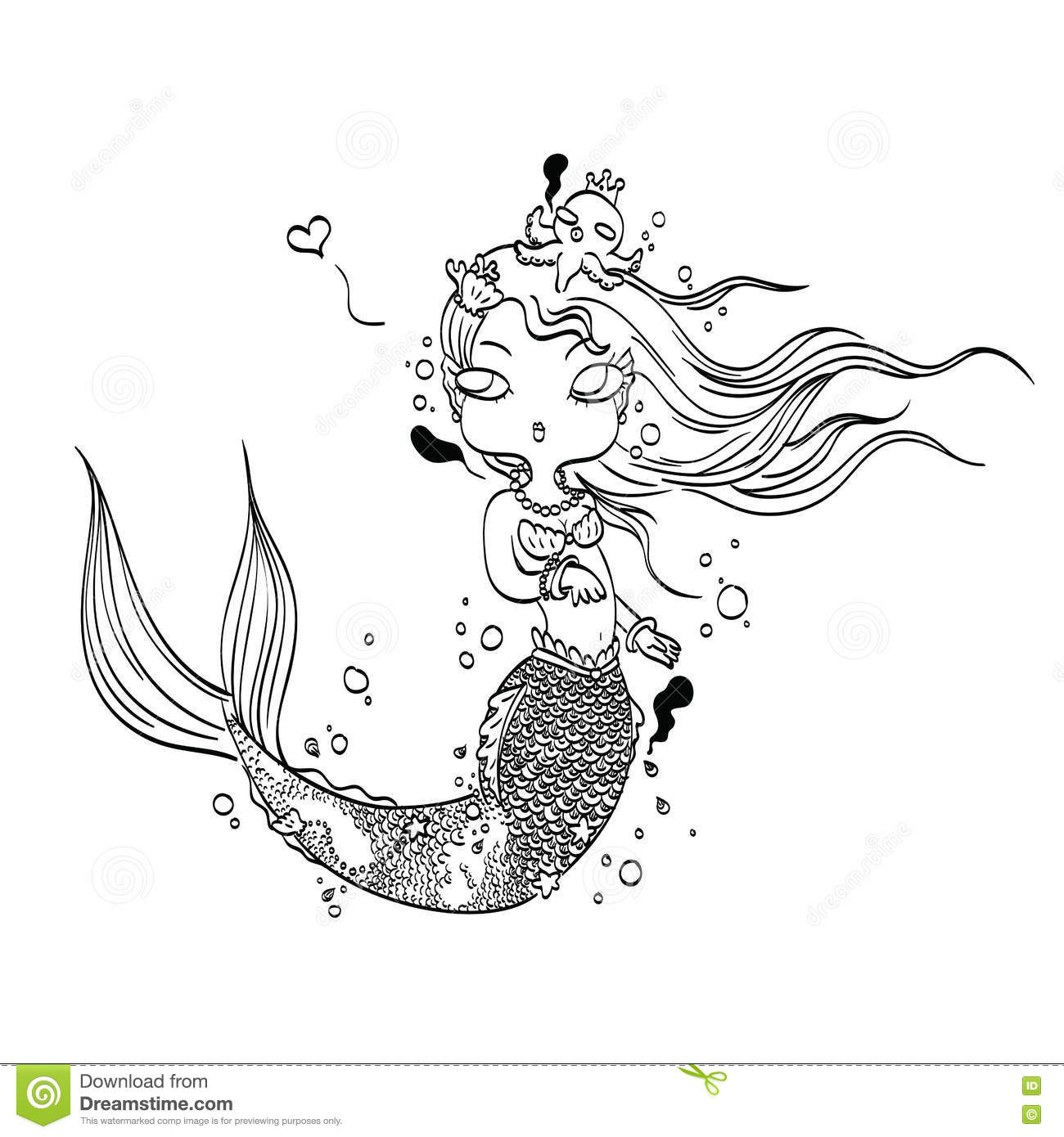 Cartoon Mermaid Clip Art Black And White Sketch Coloring Page