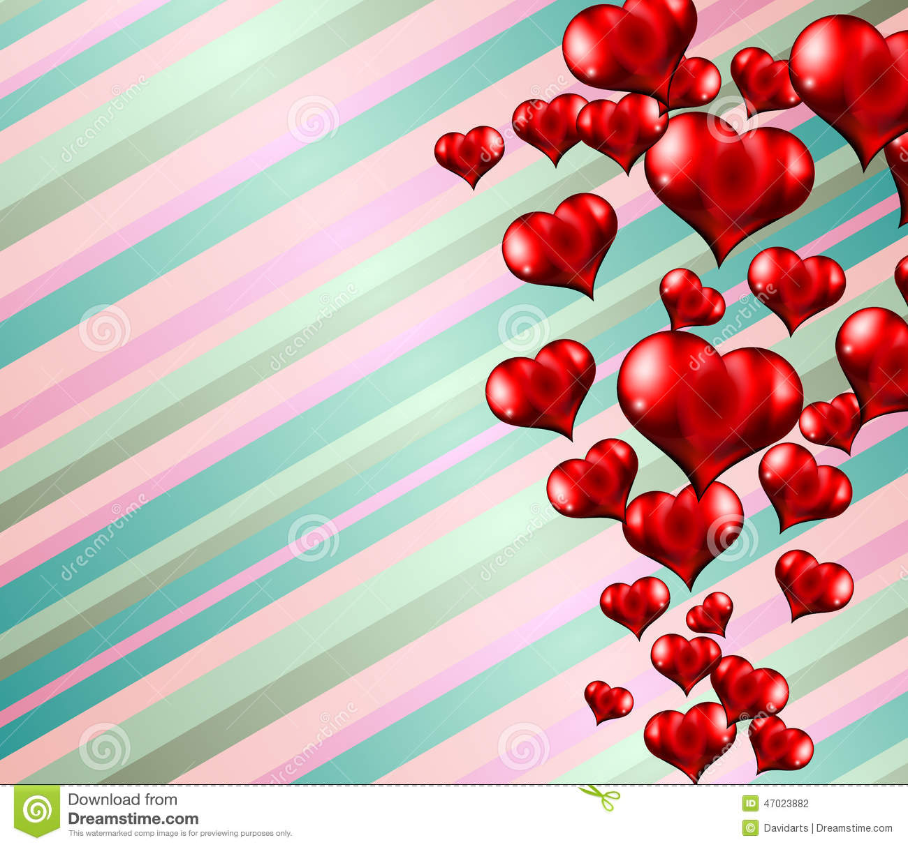 Lovely Striped Valentines Day Themed Background Stock