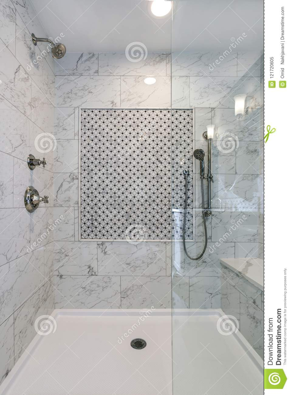 https www dreamstime com lovely walk shower carrera marble surround mosaic accent tiles image121720605