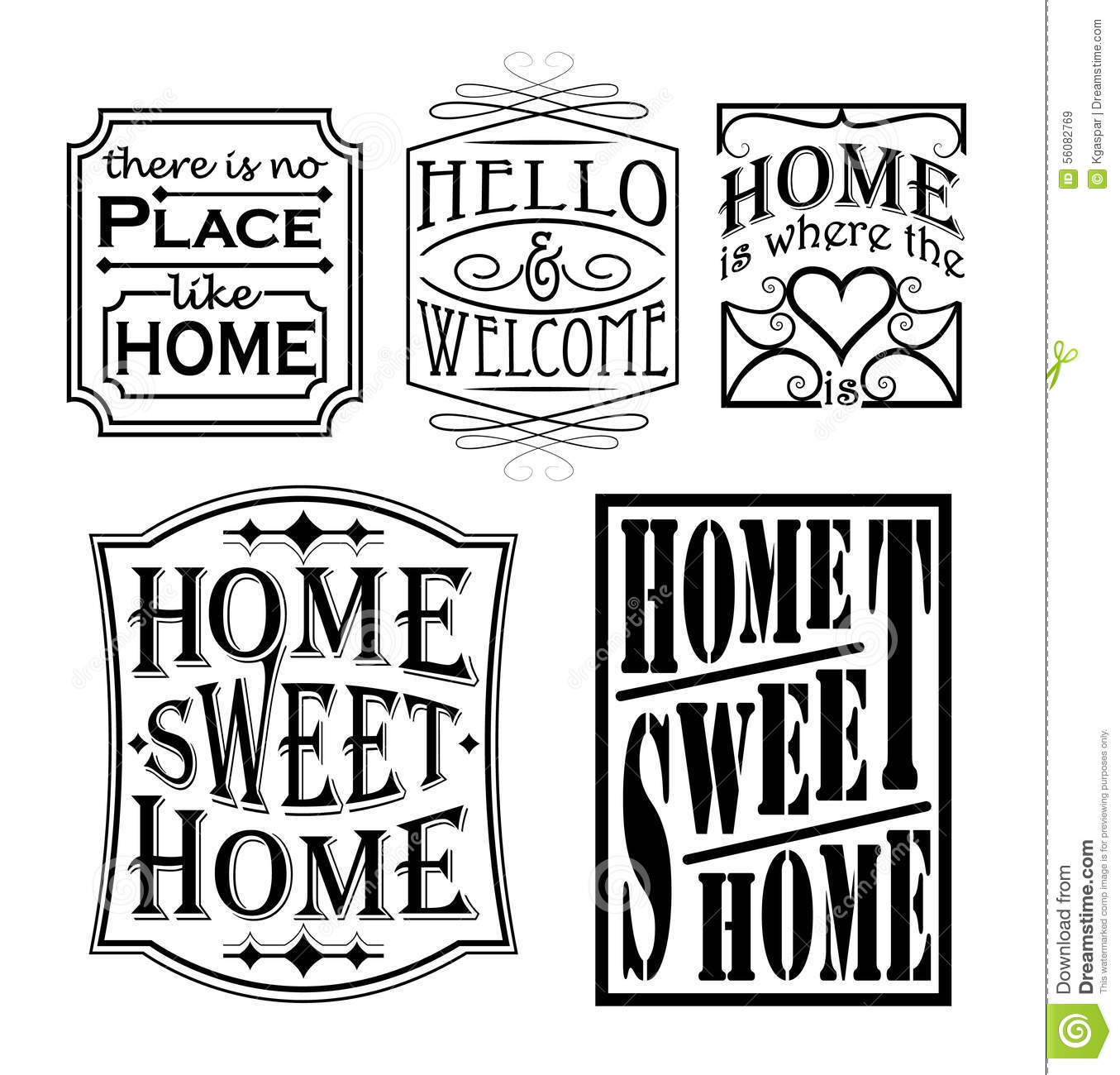 Loving Home Signs Stock Vector