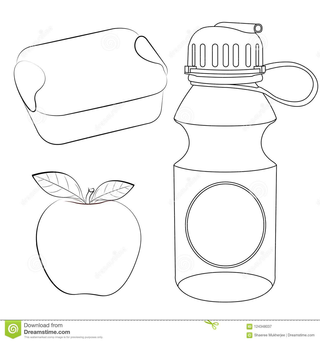 Lunch Box Apple Water Bottle Coloring Page Stock Vector