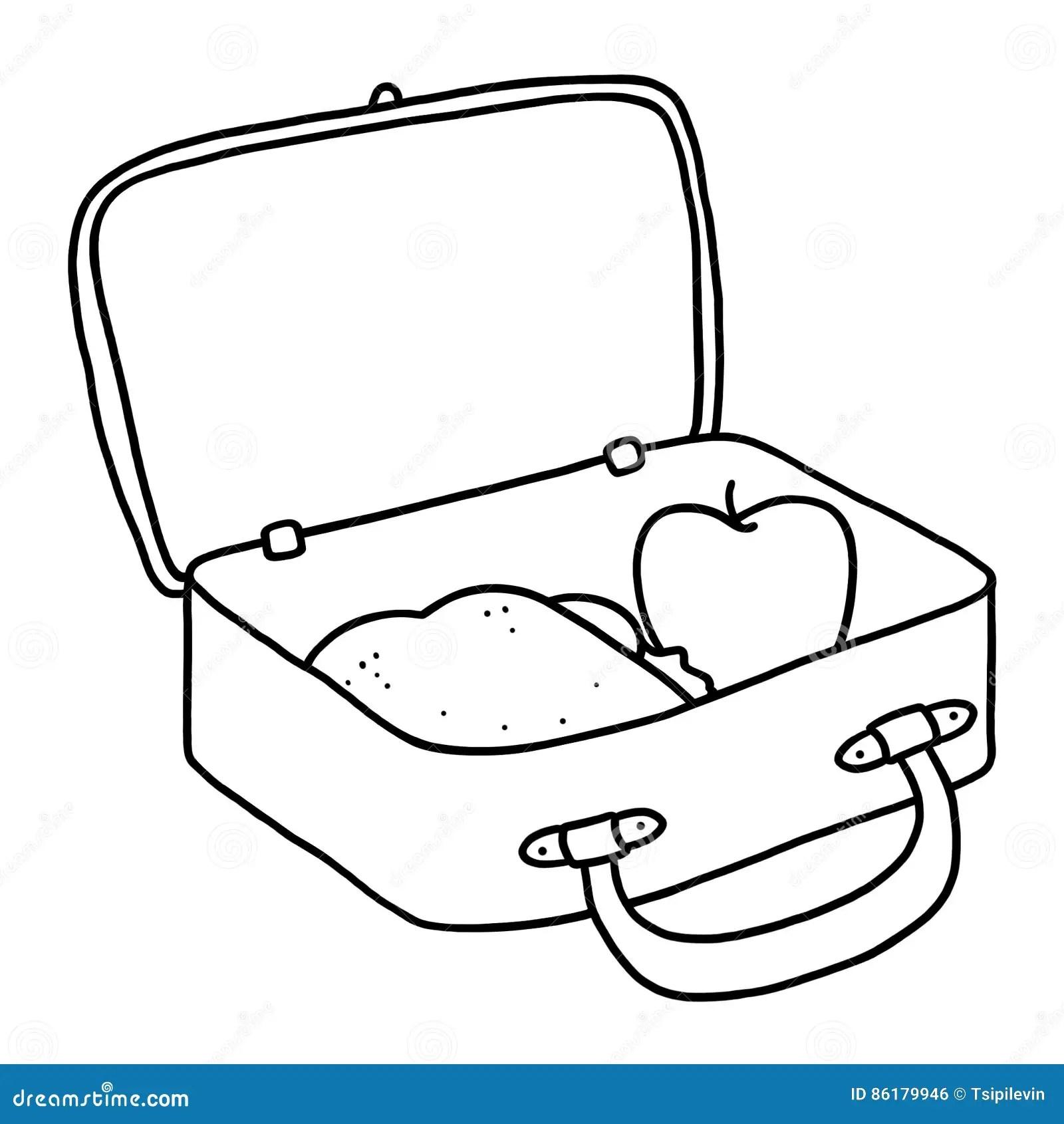 Lunch Box Outline Illustration Stock Illustration