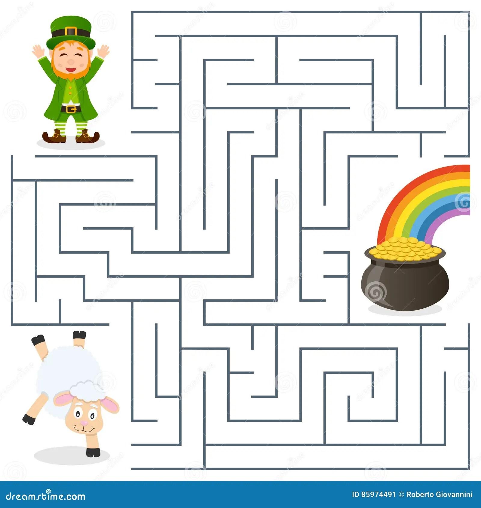 Lutin Mouton Labyrinthe D Or De Pot Pour Des Enfants