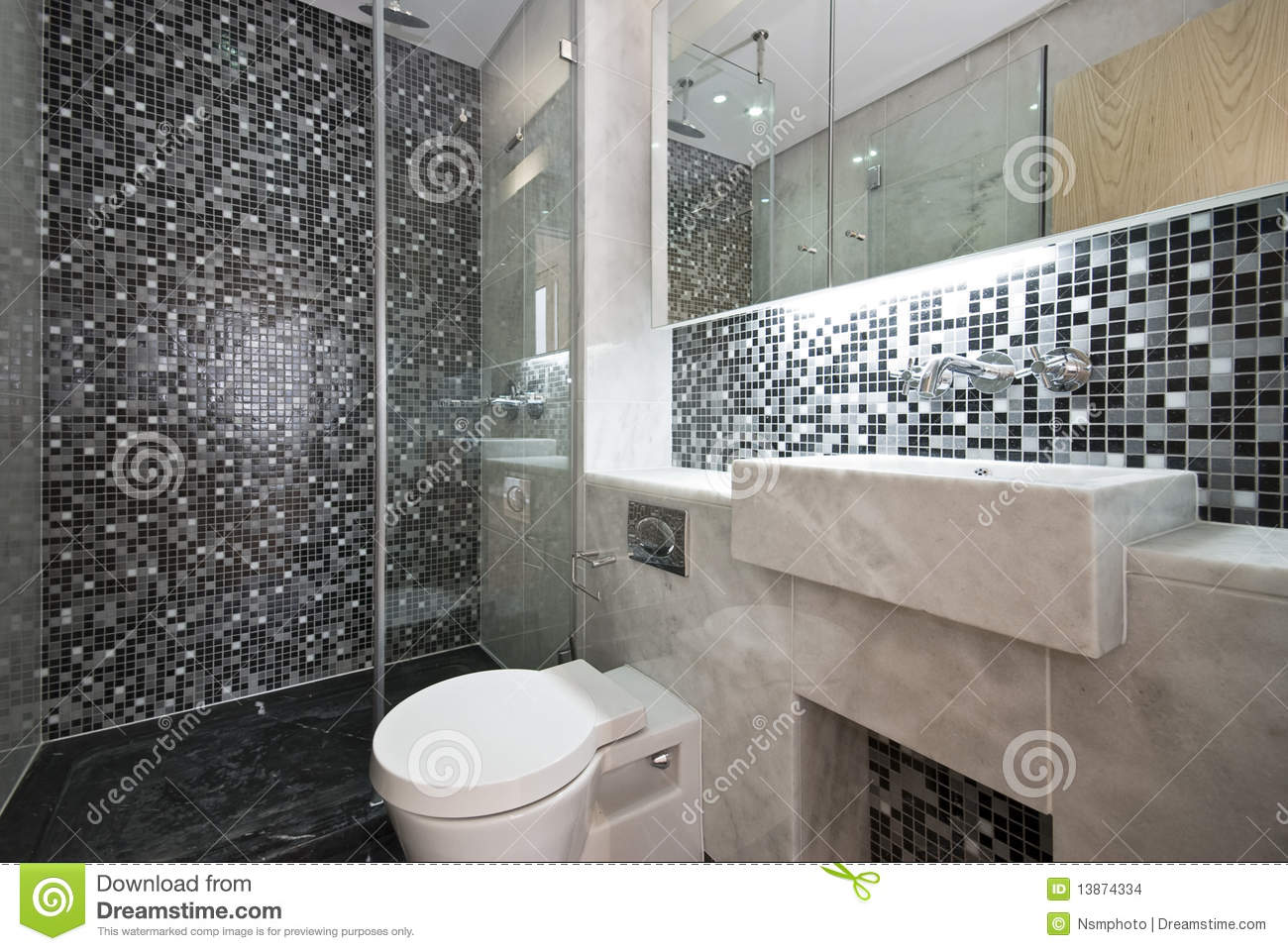 Luxurious Bathroom In Black And White Stock Images Image