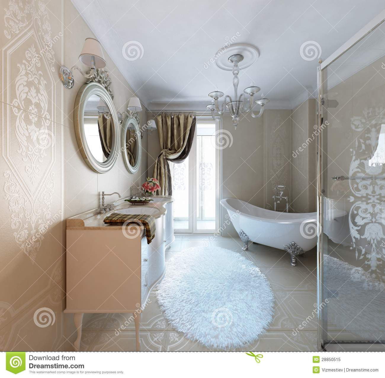 Luxury Bathroom Classic Style Stock Illustration