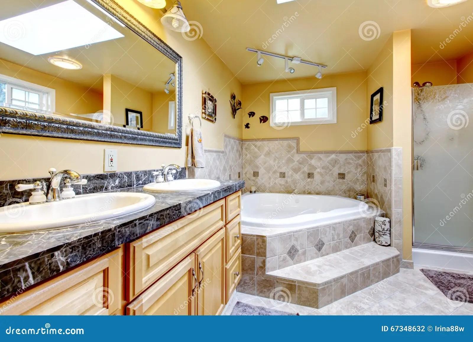 Luxury Bathroom With Jacuzzi Style Bath Tub Stone Floor