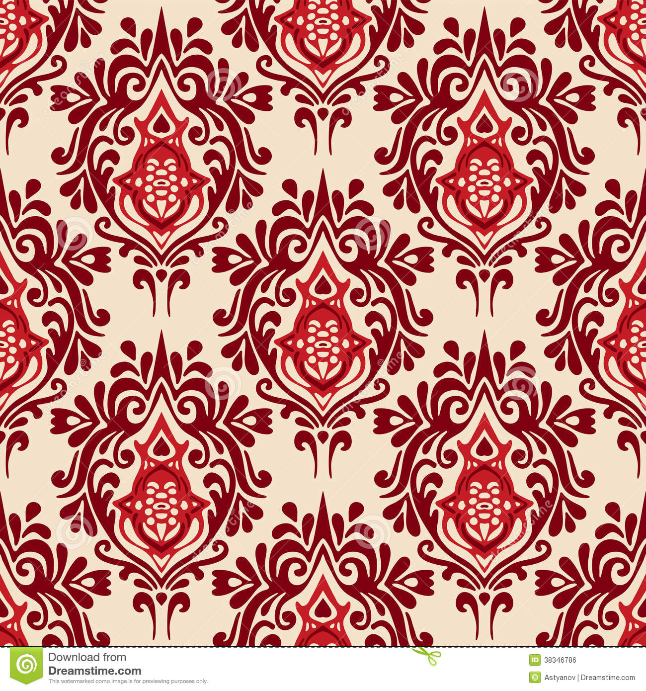 Luxury Damask Seamless Pattern Vector Stock Vector Image