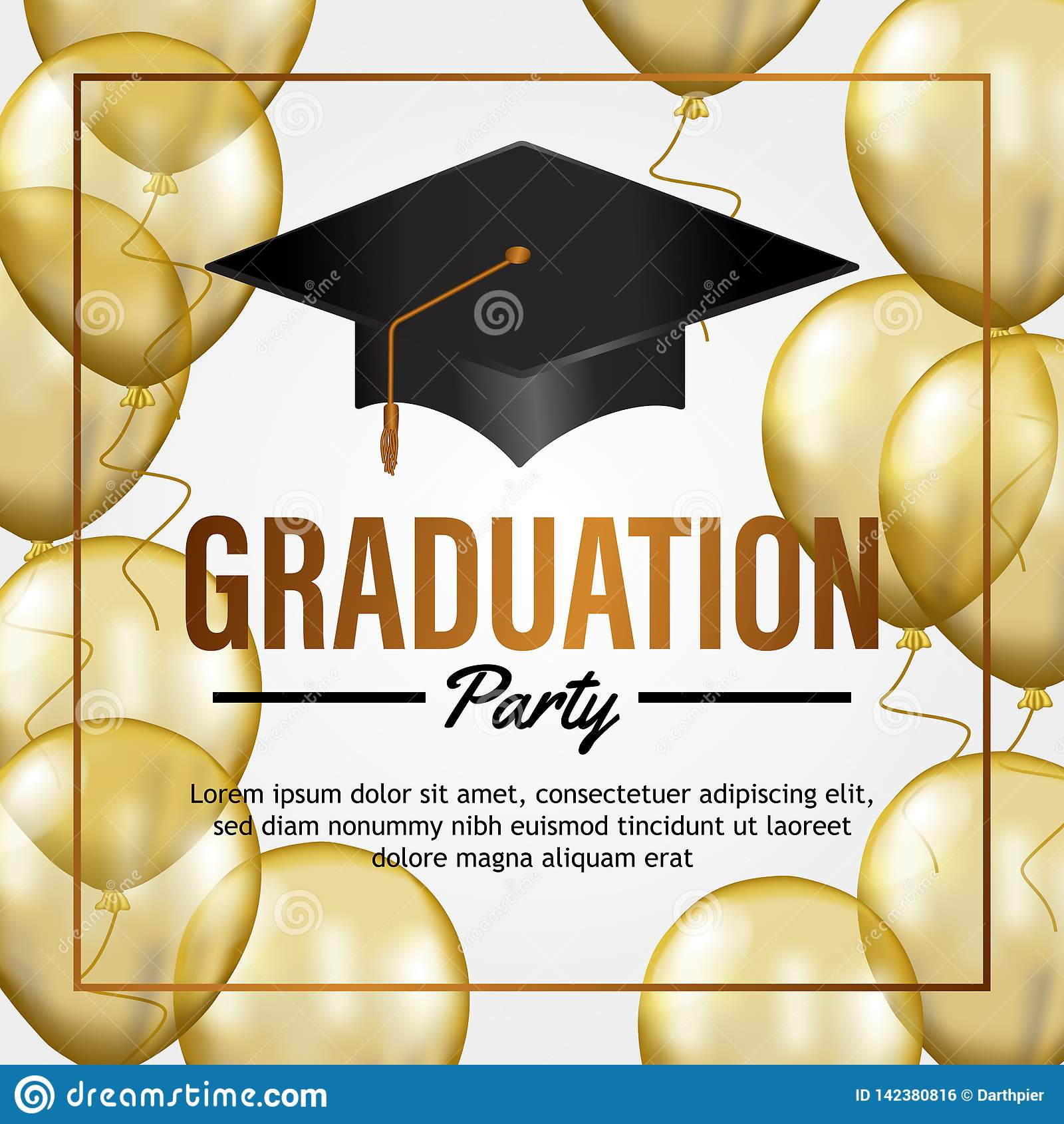 https www dreamstime com luxury graduation party invitation card transparent gold balloon hat graduate school collage celebration event poster image142380816
