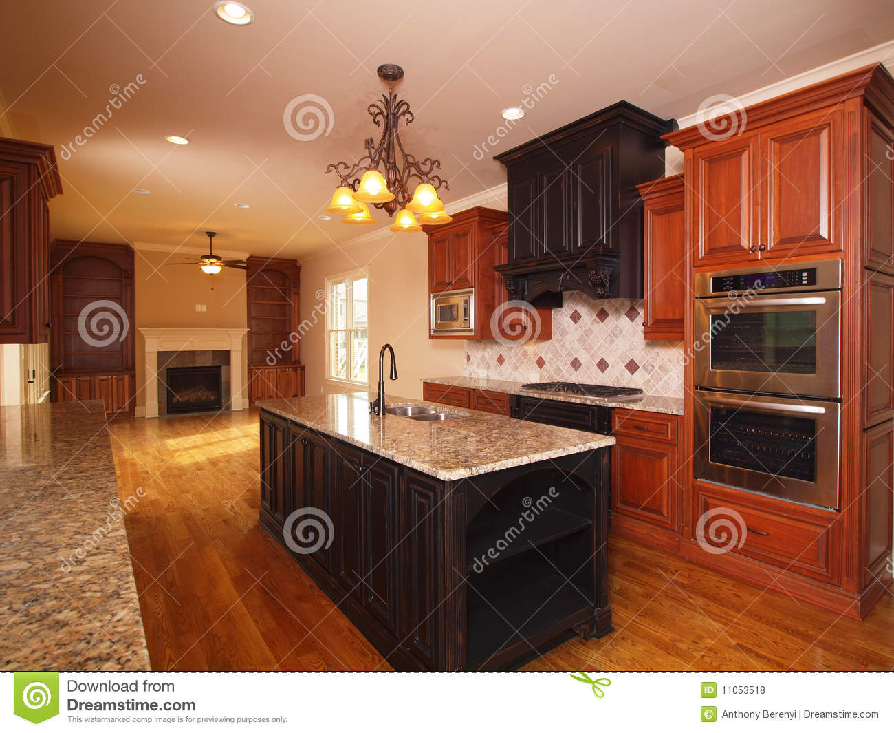 Luxury Home Extended Kitchen With Fireplace Stock Photo