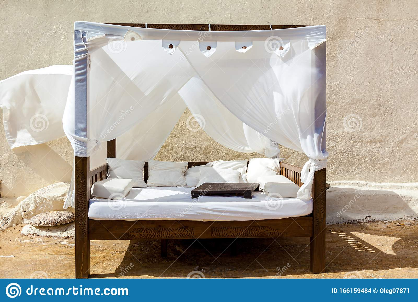 https www dreamstime com luxury modern bed white color canopy relaxing wind ruffles white canopy comfortable canopy bed image166159484