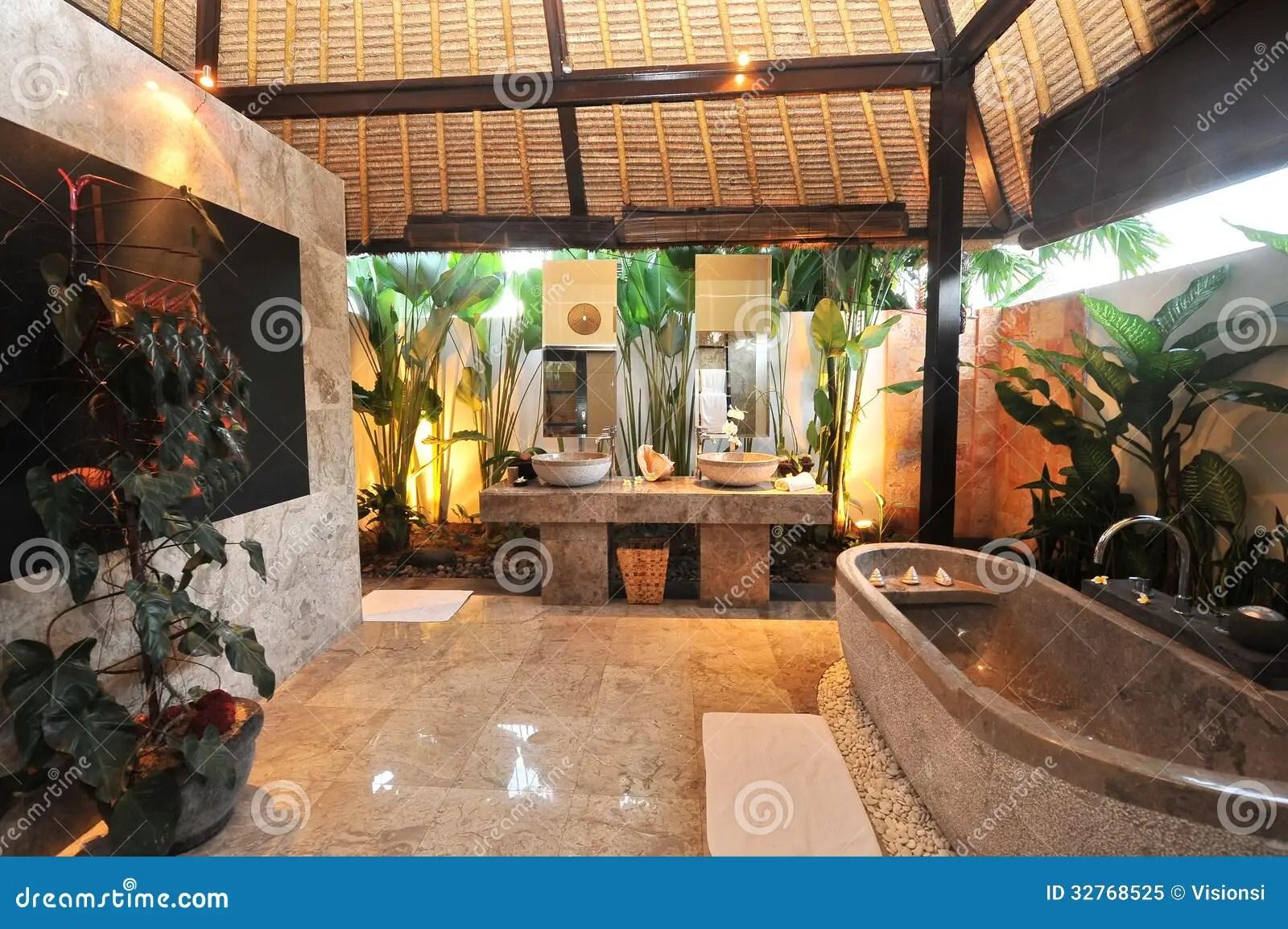 Luxury Room Bathroom In A Tropical Villa Stock Image