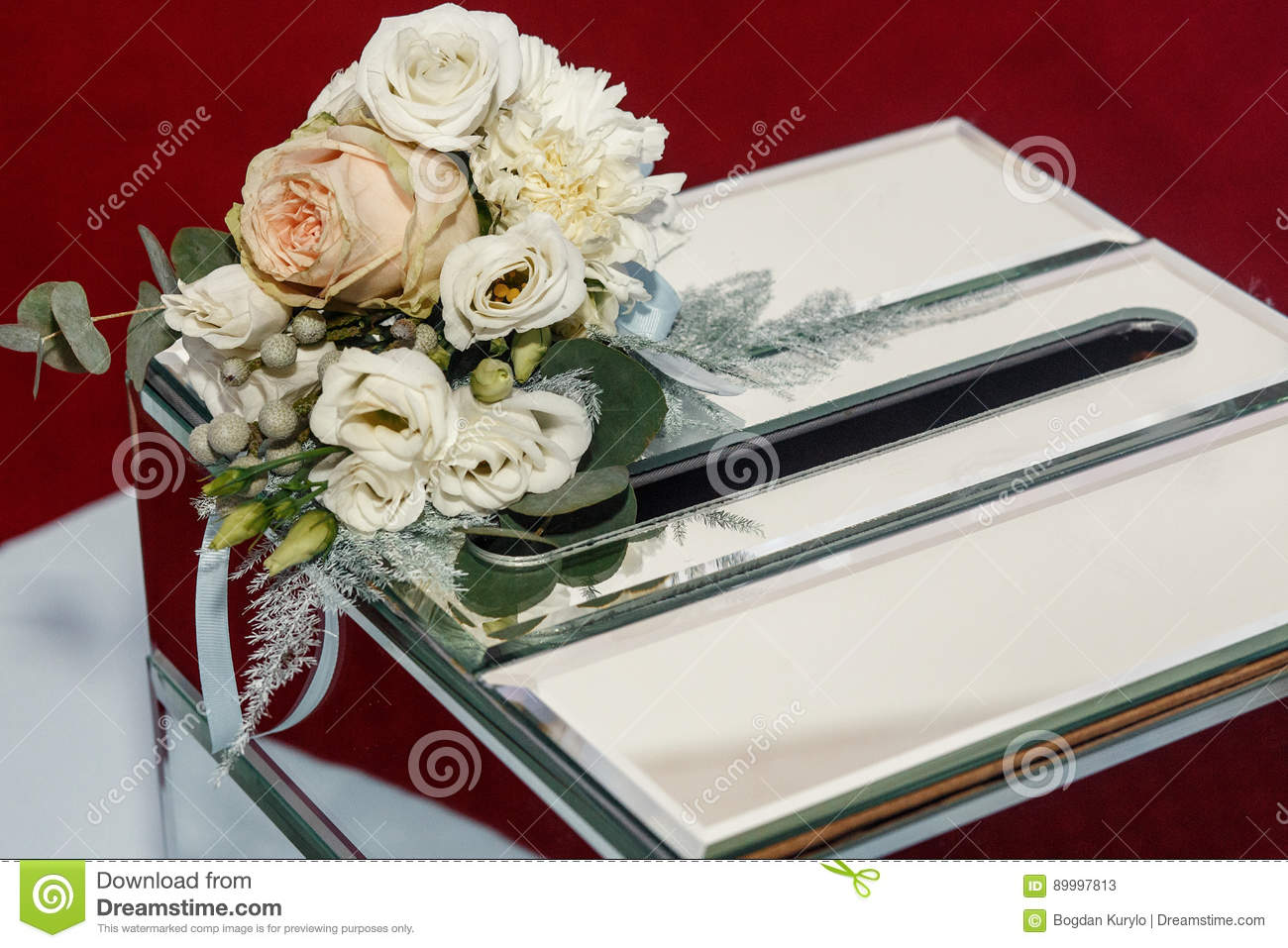 Luxury Wedding Gift Box With Roses And Expensive Golden