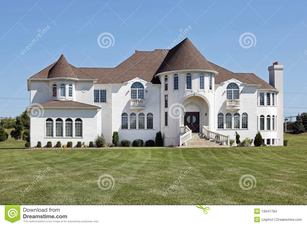 Luxury White Home With Front Turret Stock Photo Image Of