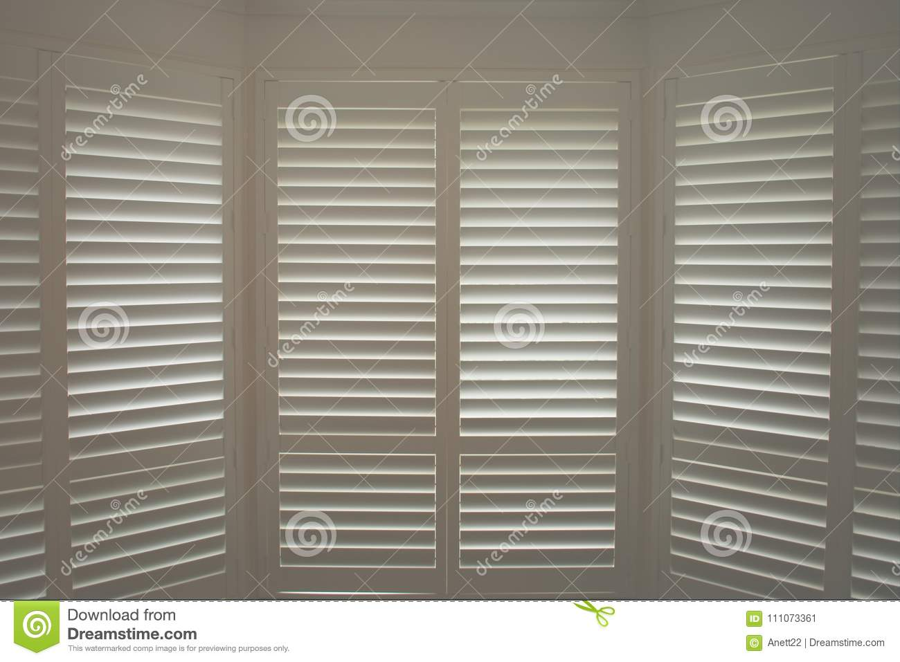 Luxury White Indoor Plantation Shutters Closed Shutters