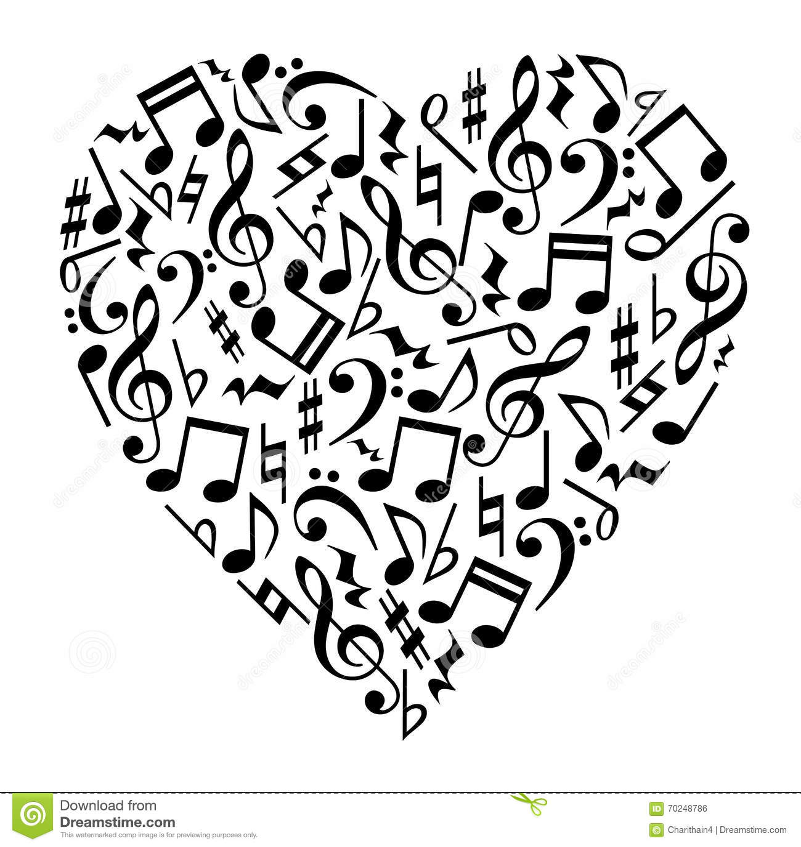 A Musica Nota O Coracao Ilustracao Do Vetor Ilustracao De