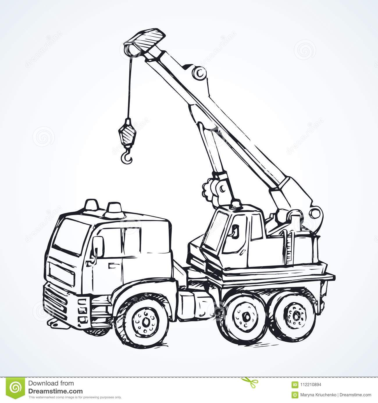 Machine With A Crane Vector Drawing Stock Vector