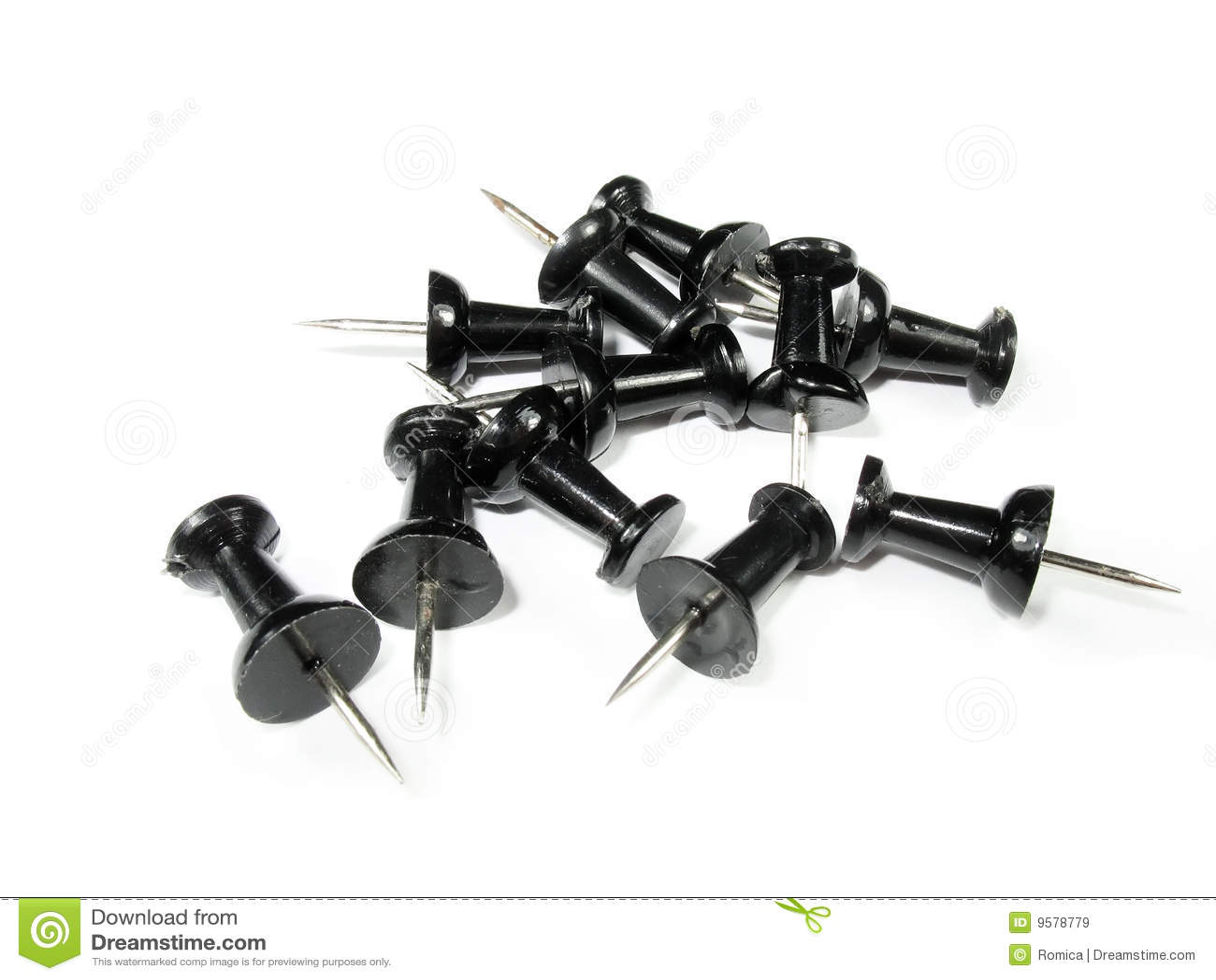 Macro Image Of Black Push Pins Stock Image