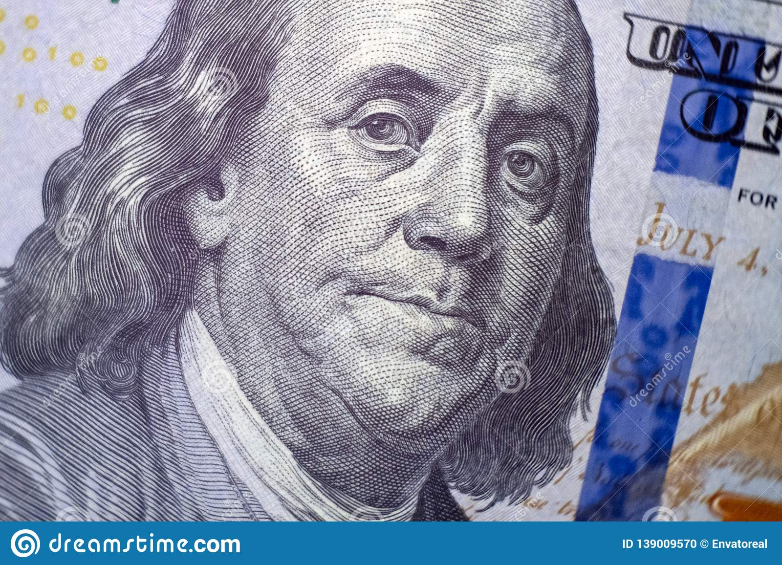 Macro A Portrait Of Benjamin Franklin On A Hundred Dollar