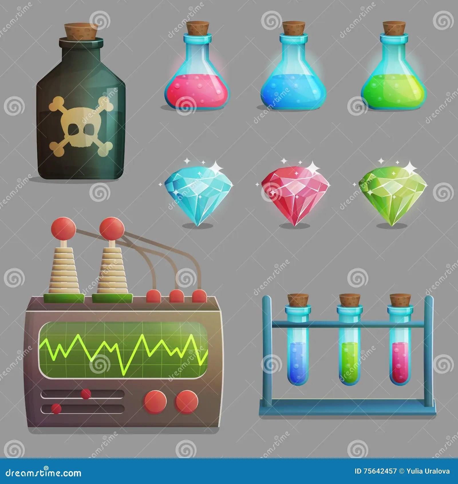 Mad Professor Laboratory Items For Game Design Stock Vector