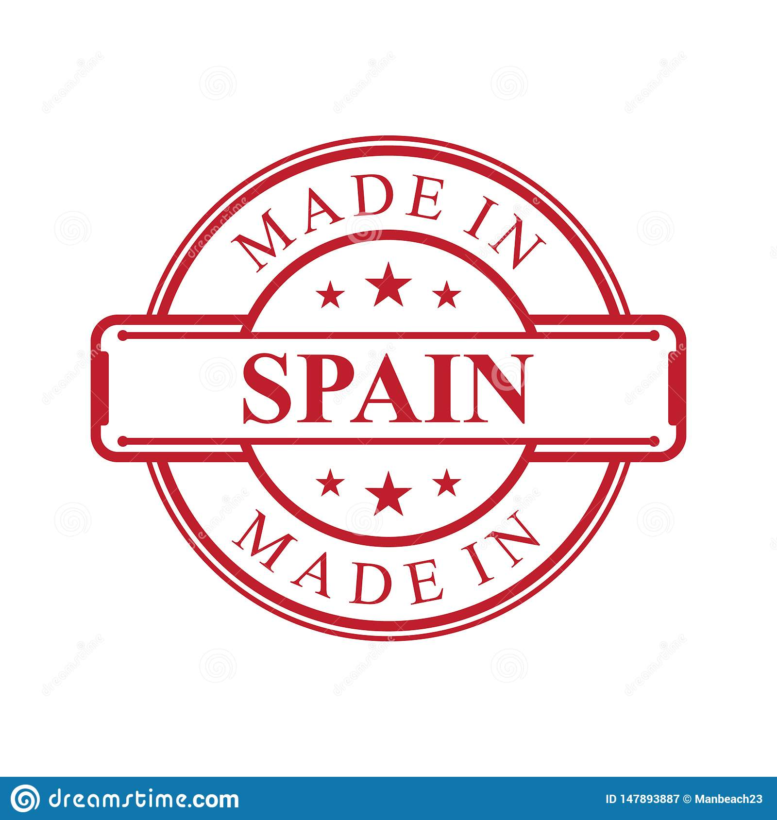 Made In Spain Label Icon With Red Color Emblem On The