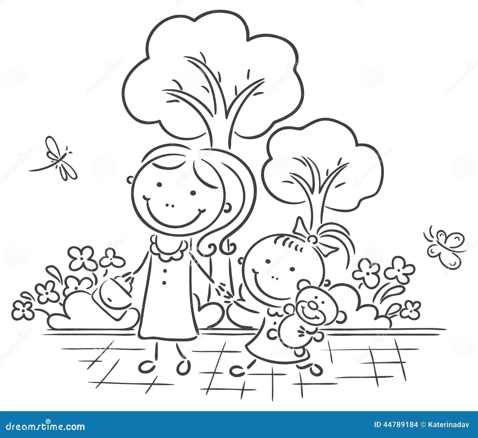 Madre E Hija Que Recorren En El Parque Ilustracion Del
