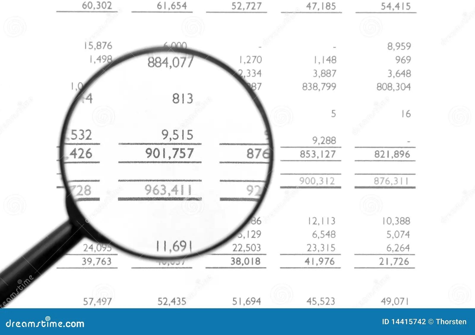 Magnifying Glass On Financial Balance Sheet Stock Photo