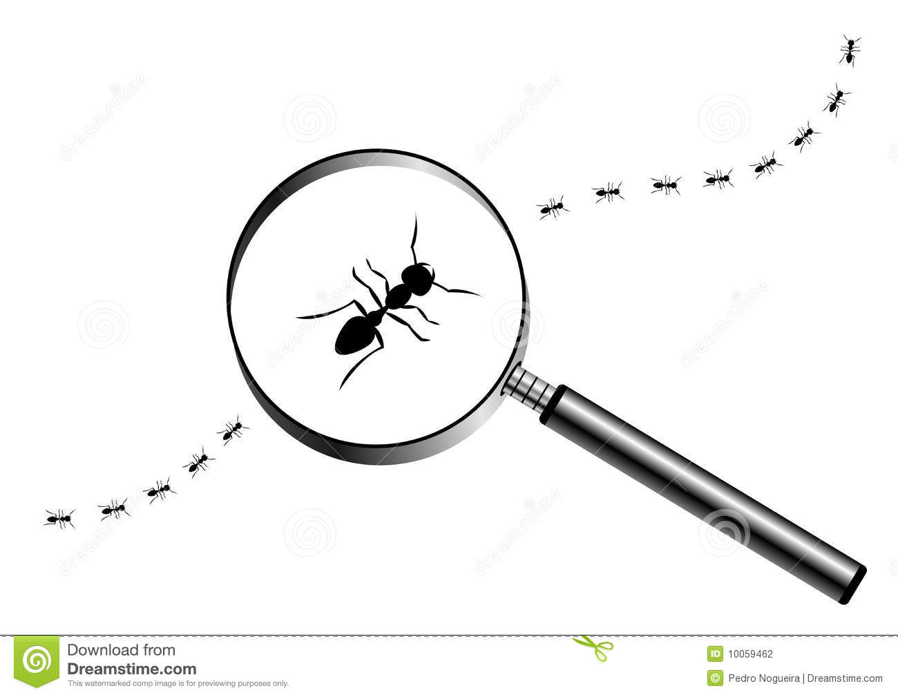 Magnifying Glass With Marching Ants Stock Vector