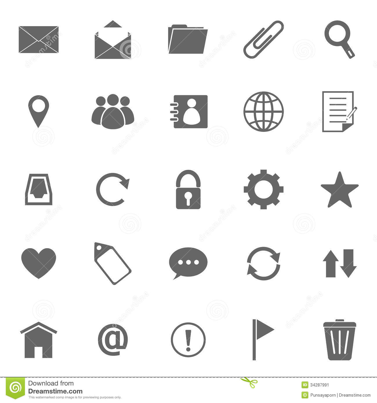 Mail Icons On White Background Stock Vector