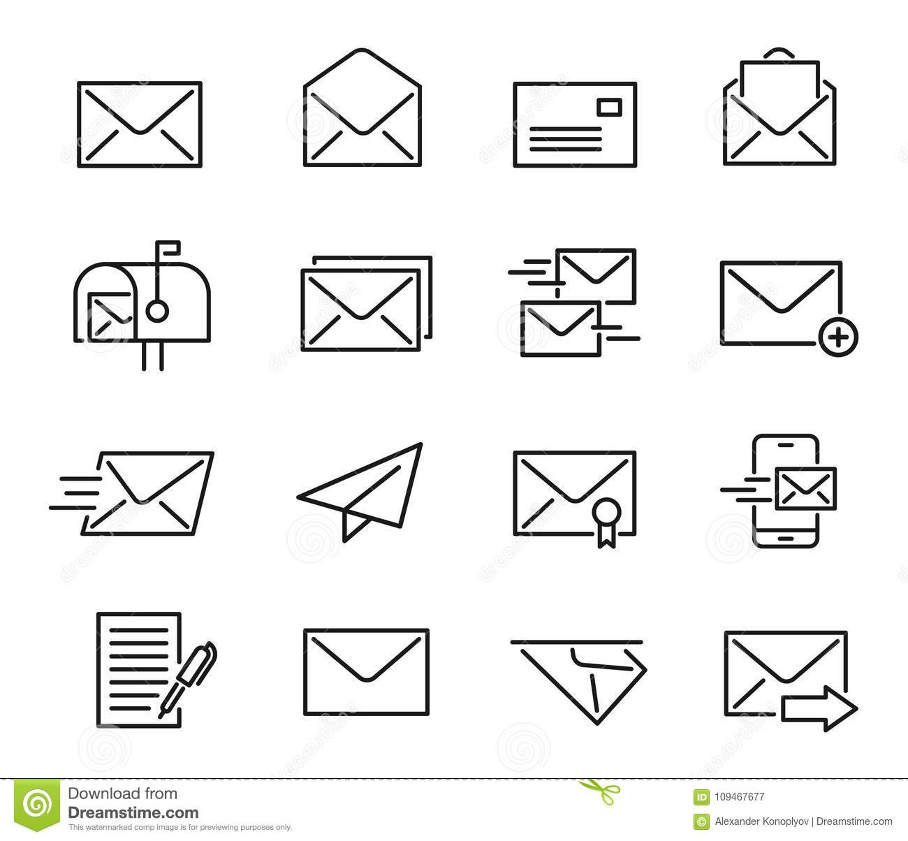 Letters Mail Set In Flat Style Isolated On White