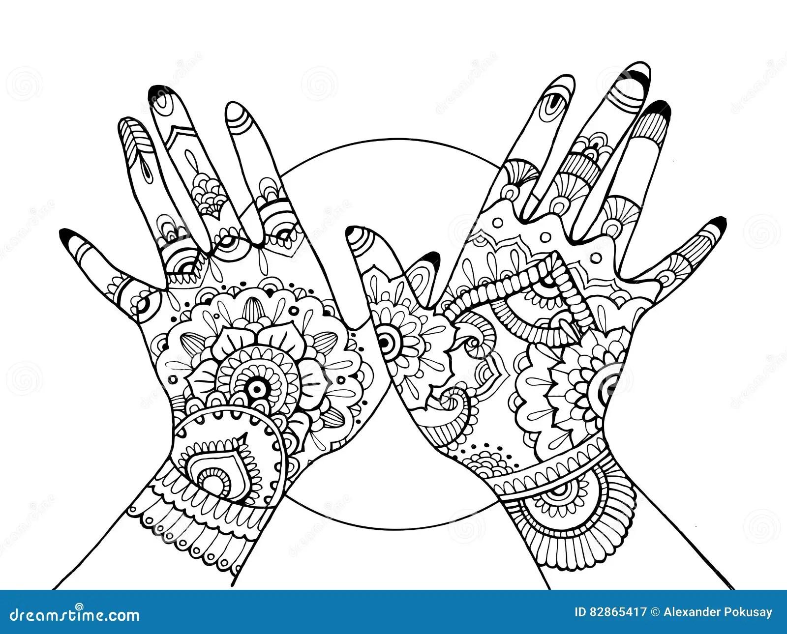 Mains Avec Livre De Coloriage De Dessin De Mehndi Pour Des