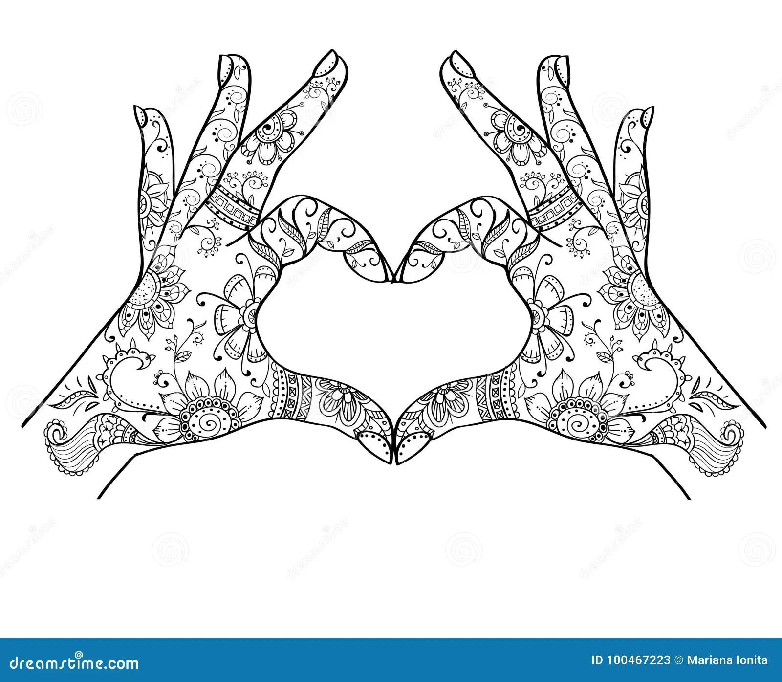 Mains Montrant Le Zentangle D Amour Illustration De