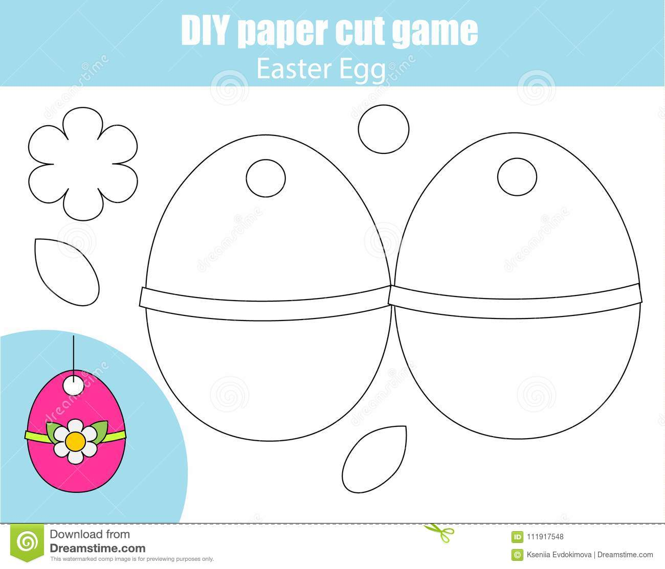 Make Easter Egg With Glue And Scissors Paper Cutting