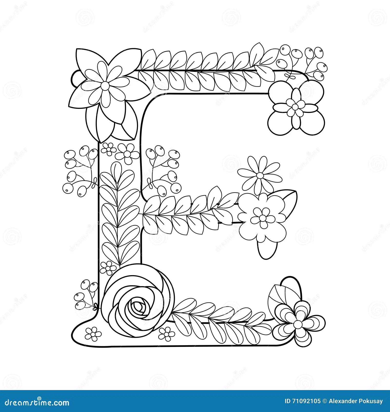 Malbuch Des Buchstaben E Fur Erwachsenvektor Vektor