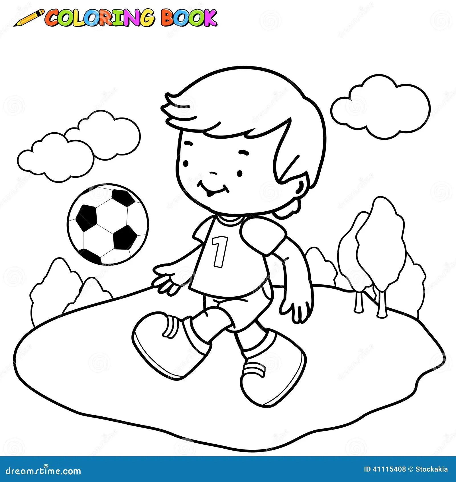 Malbuch Fu Ball Kind Vektor Abbildung Illustration Von
