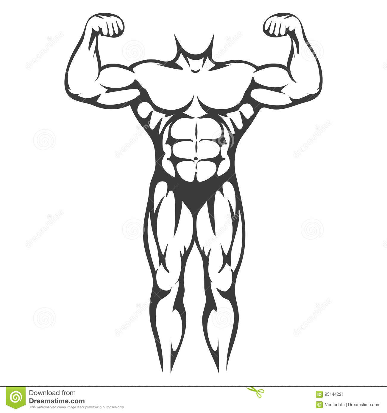 Male Body Muscle Black Silhouette Stock Vector
