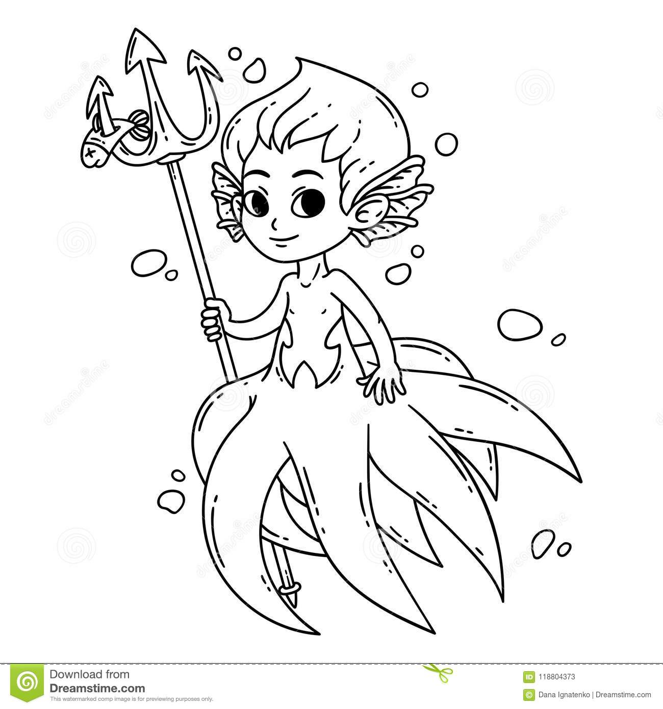 Male Mermaid Vector Illustration Coloring Page Stock