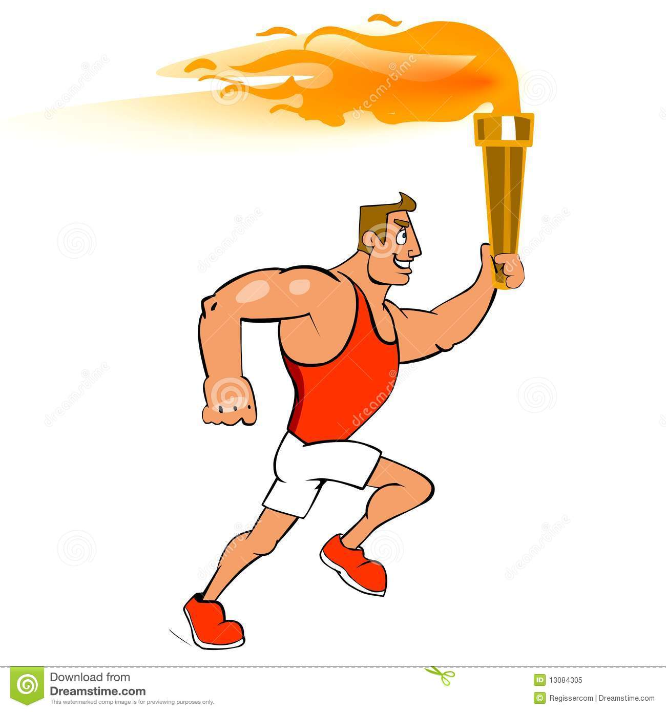 Male Runner With Torch Royalty Free Stock Photo
