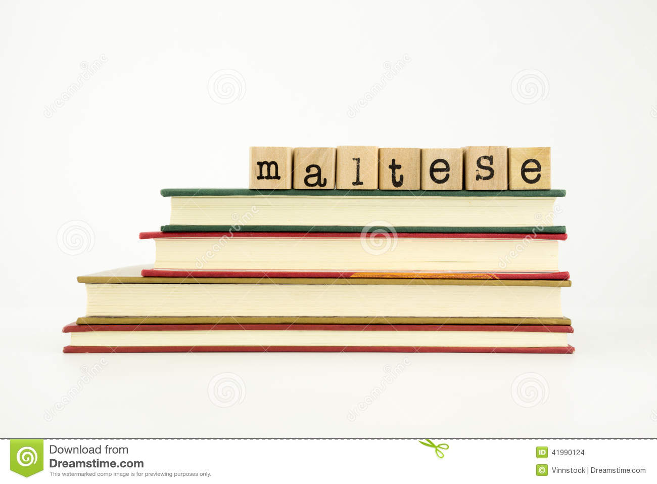 Maltese Language Word On Wood Stamps And Books Stock Photo