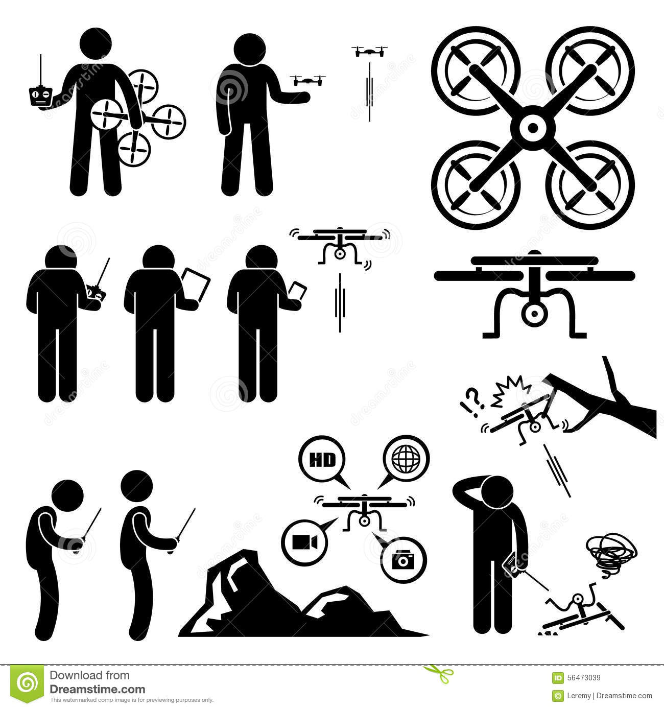 Man Controlling Flying Drone Quadcopter Clipart Stock