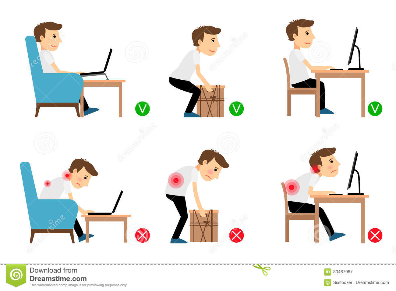Man Correct And Incorrect Postures Stock Vector