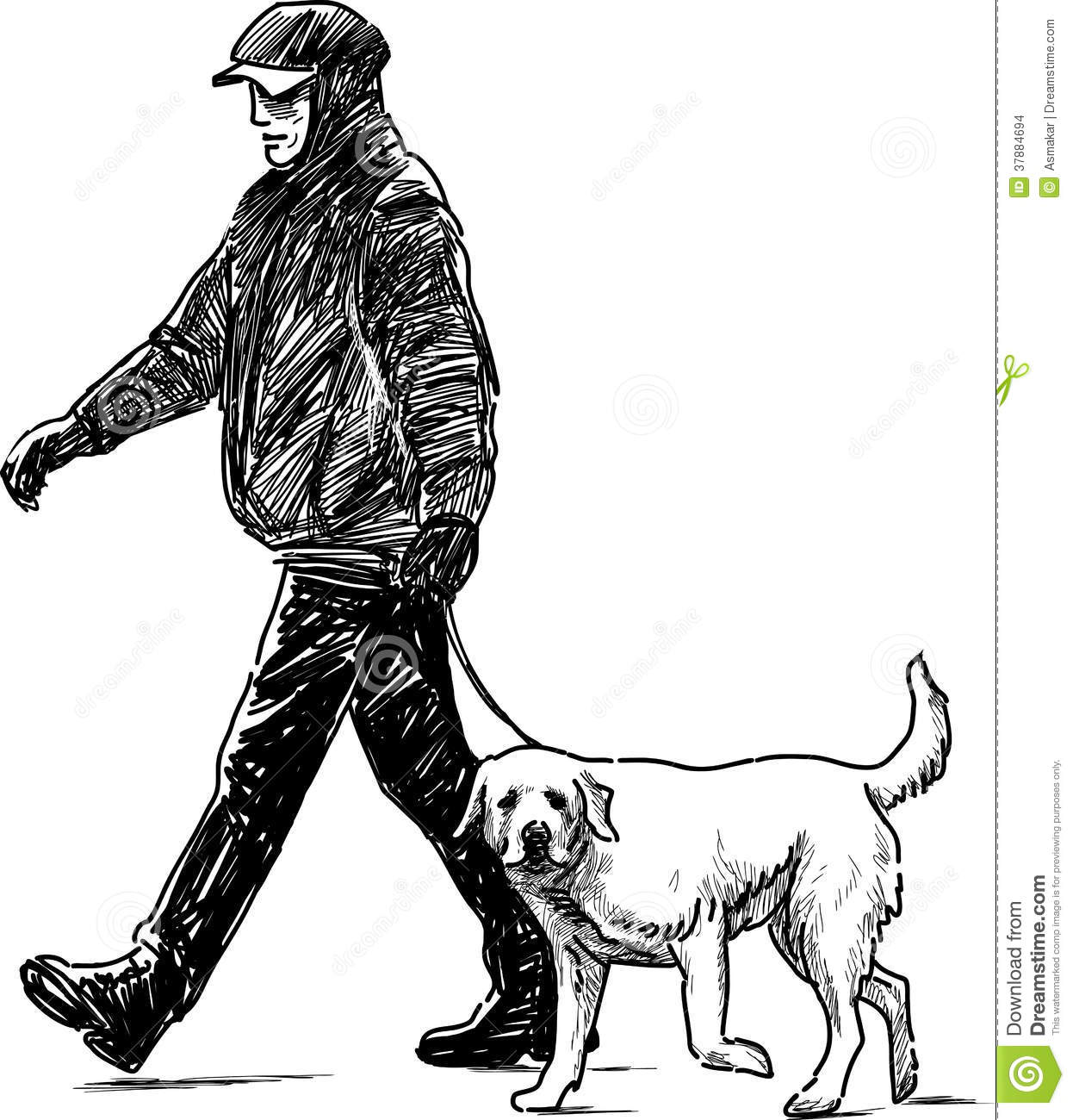 Man And Dog Stock Vector Illustration Of Together Animal