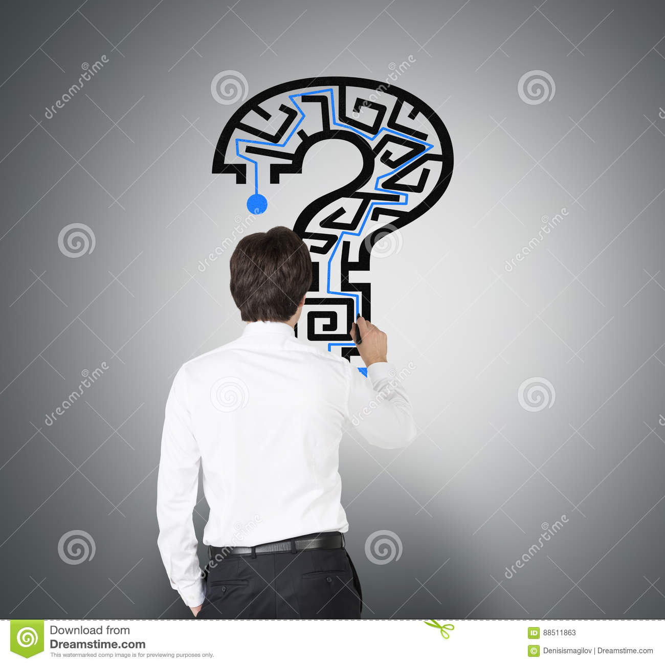 Man Drawing Question Mark Maze On Gray Stock Image