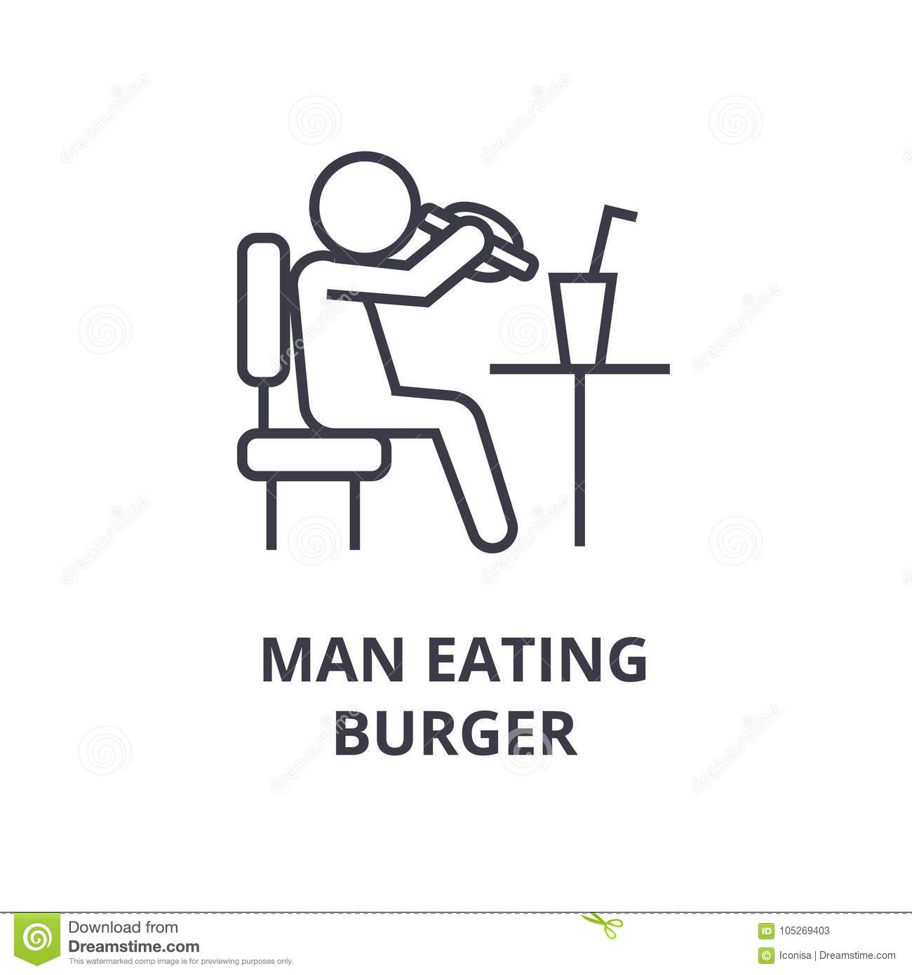 Fat Man Eating Junk Food Stock Illustration